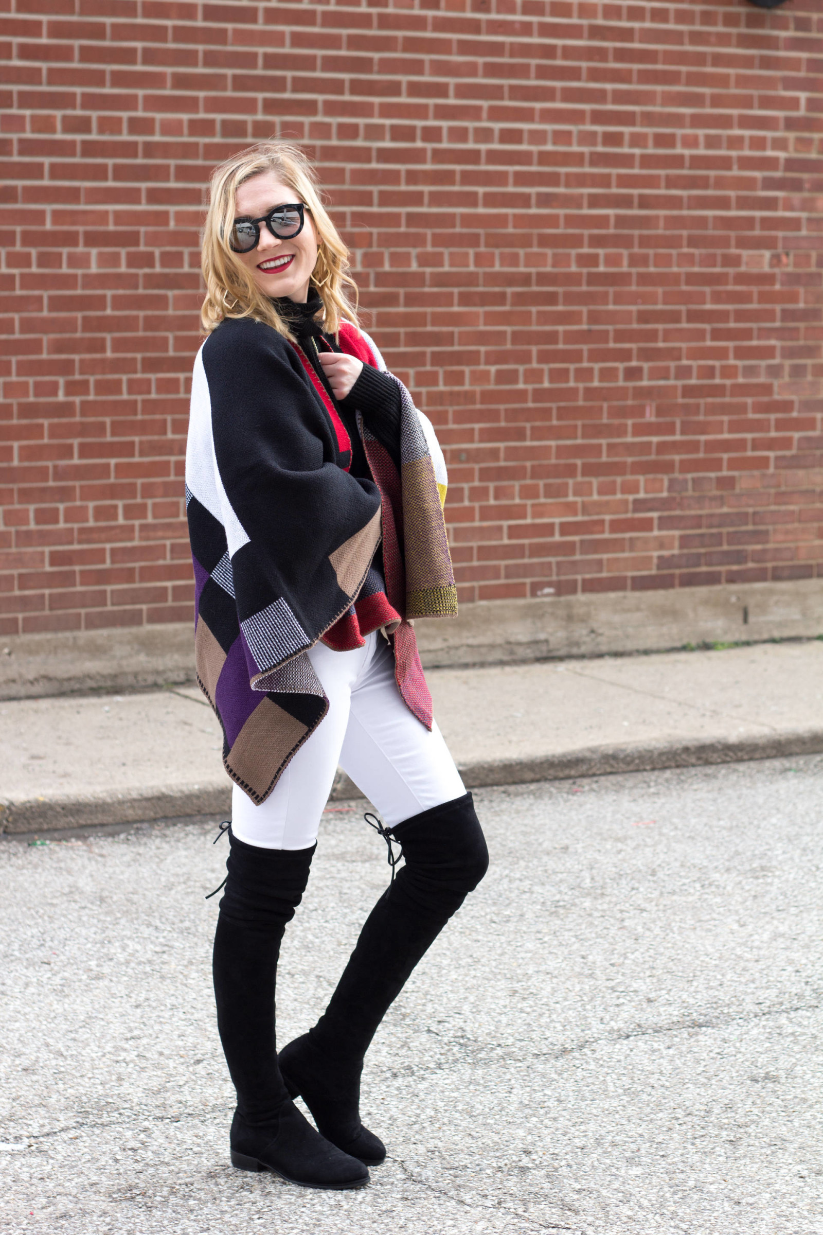 SheIn Plaid Cape | www.goldhattedlover.com