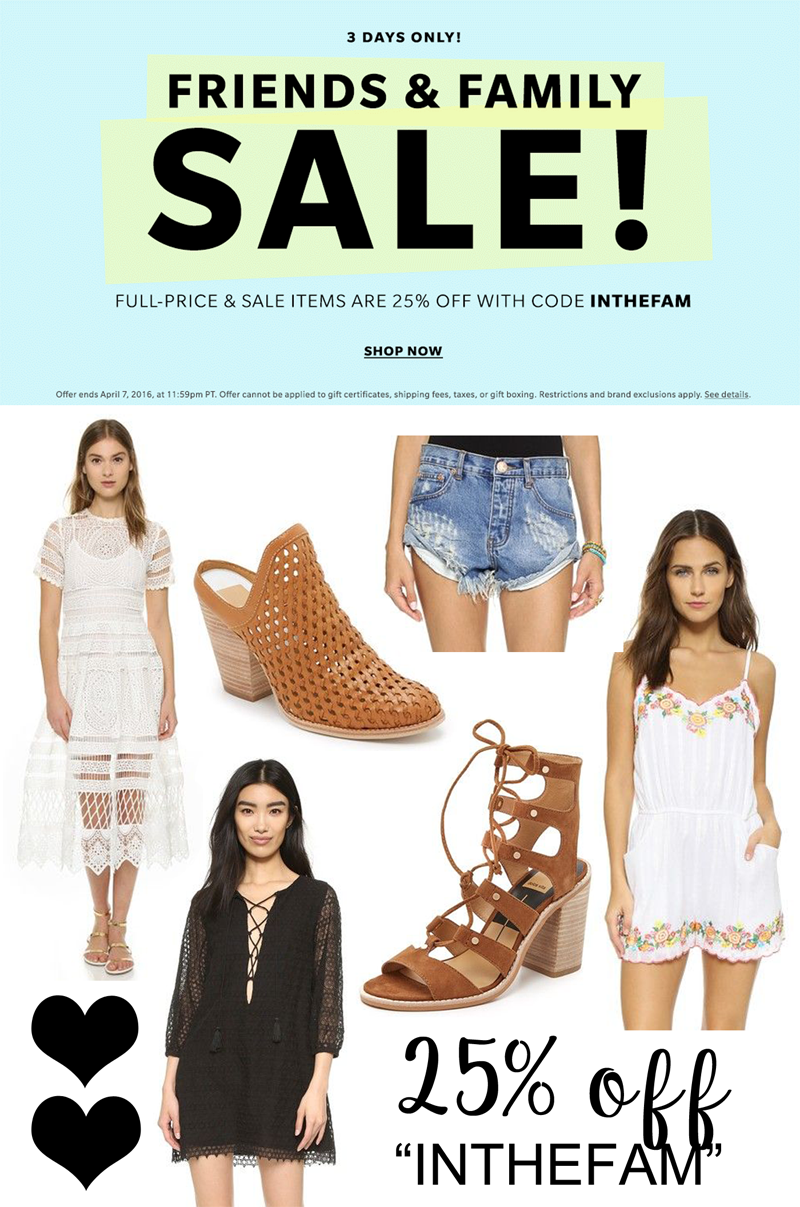 SHOPBOP FRIENDS AND FAMILY SALE: STOCK UP FOR SPRING/SUMMER.