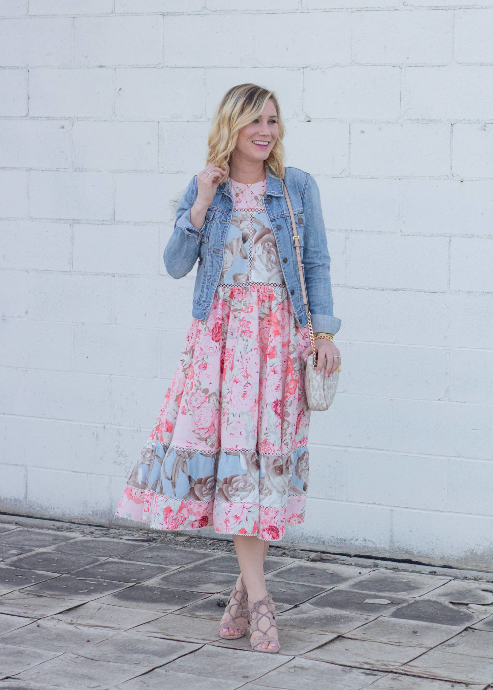 Floral Midi Dress + Block Heels | Gold-Hatted Lover