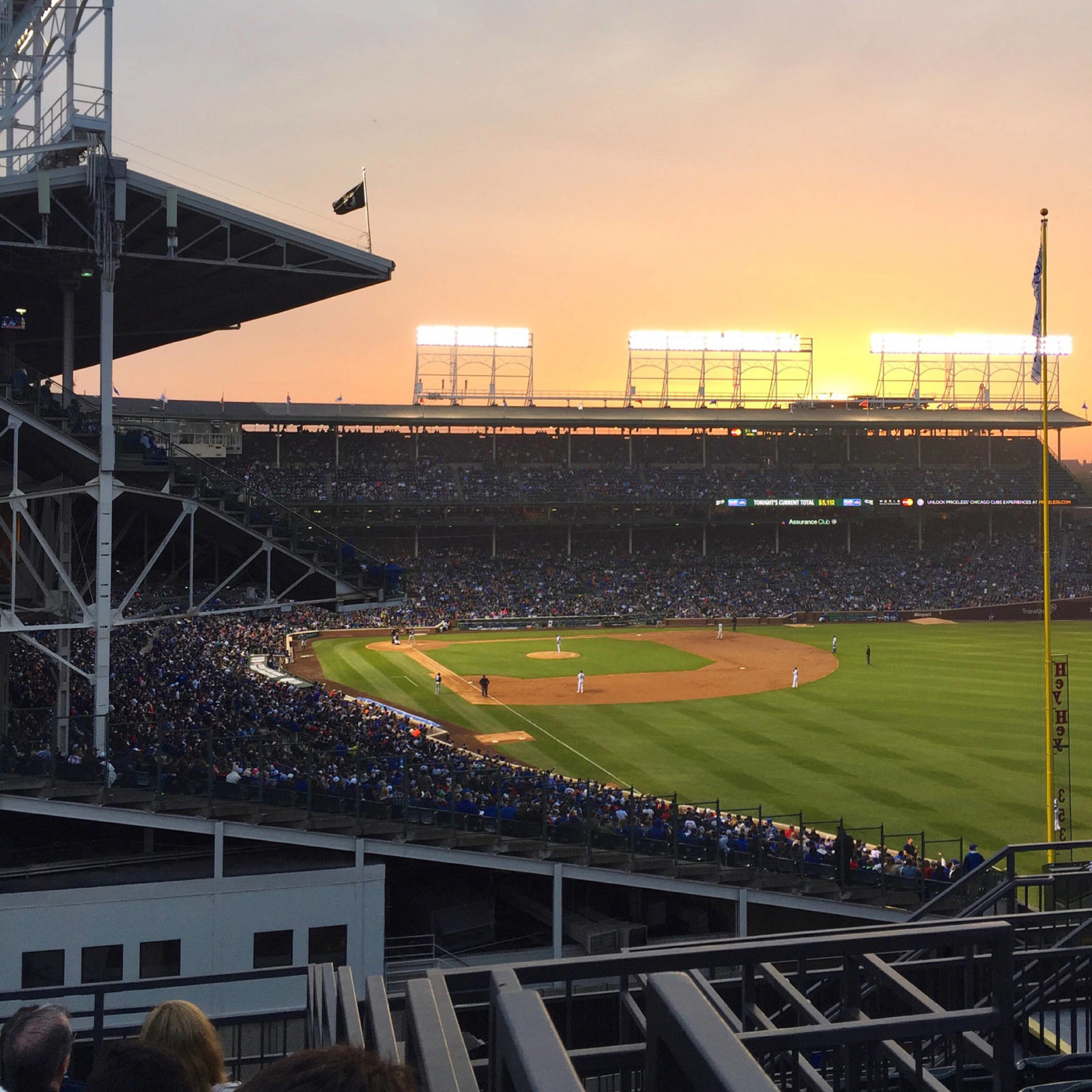 Sunset from the Bleacher Seats at Wrigley Field